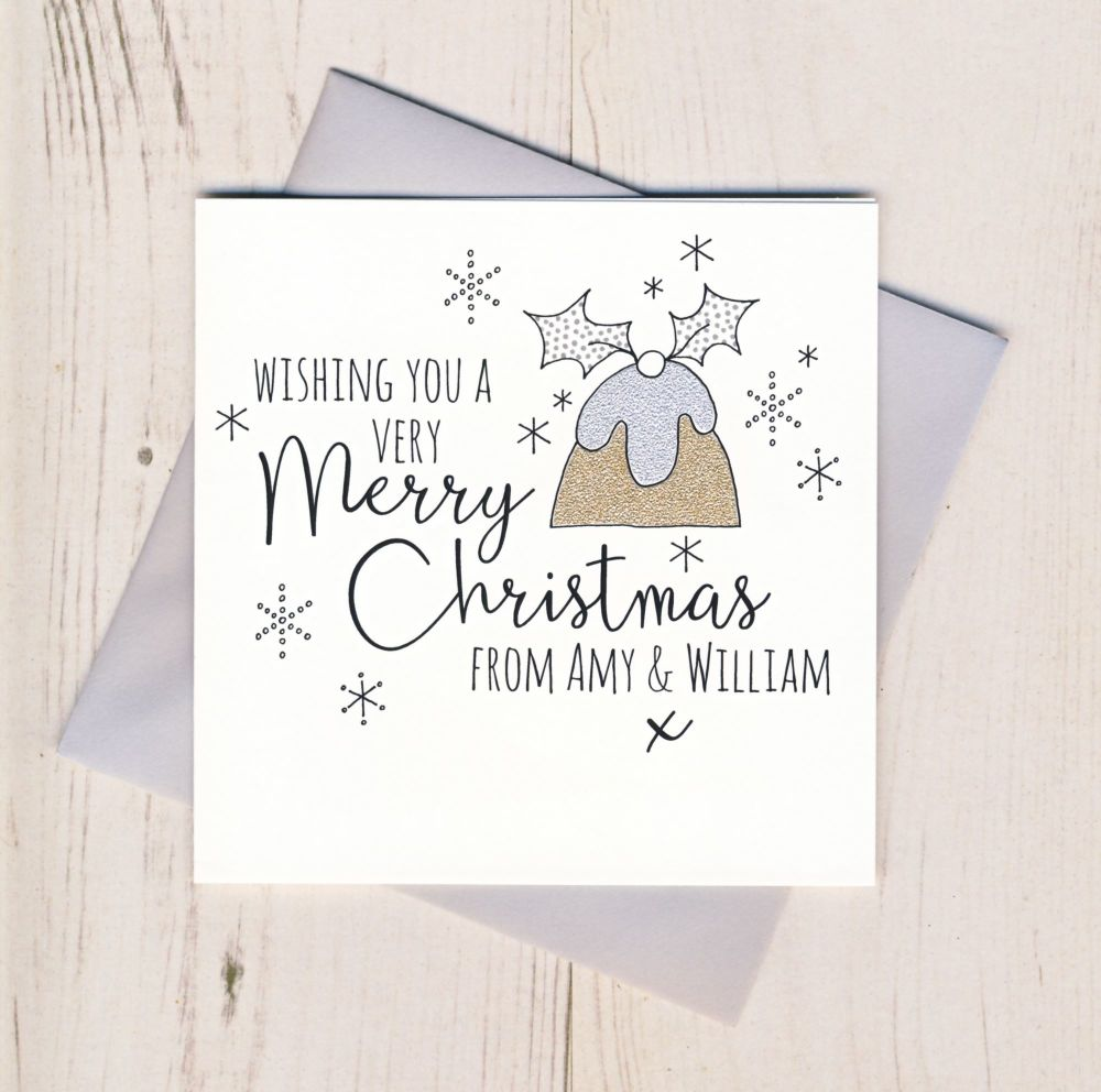 Personalised Glittery Pudding Cards
