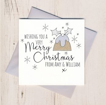 Personalised Glittery Pudding Christmas Cards