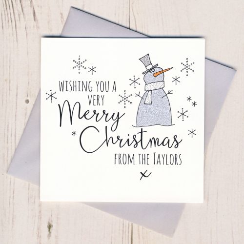 Personalised Glittery Snowman Cards