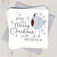 Pack of Five Glittery Robin Christmas Cards