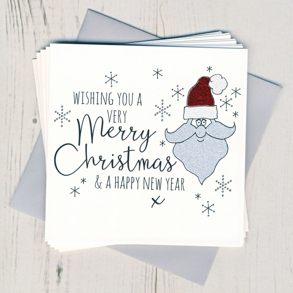 Pack of Five Glittery Santa Cards