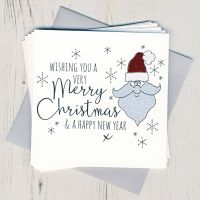 Pack of Five Glittery Santa Christmas Cards