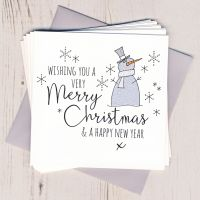 Pack of Five Glittery Snowman Christmas Cards