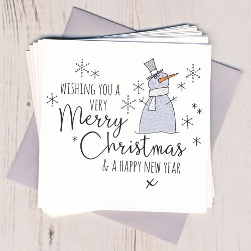 Pack of Five Glittery Snowman Cards