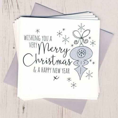 Pack of Five Glittery Bauble Cards