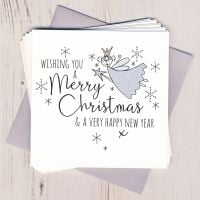 Pack of Five Glittery Fairy Christmas Cards