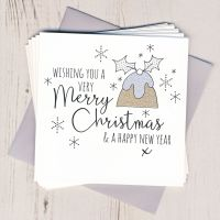 Pack of Five Glittery Pudding Cards