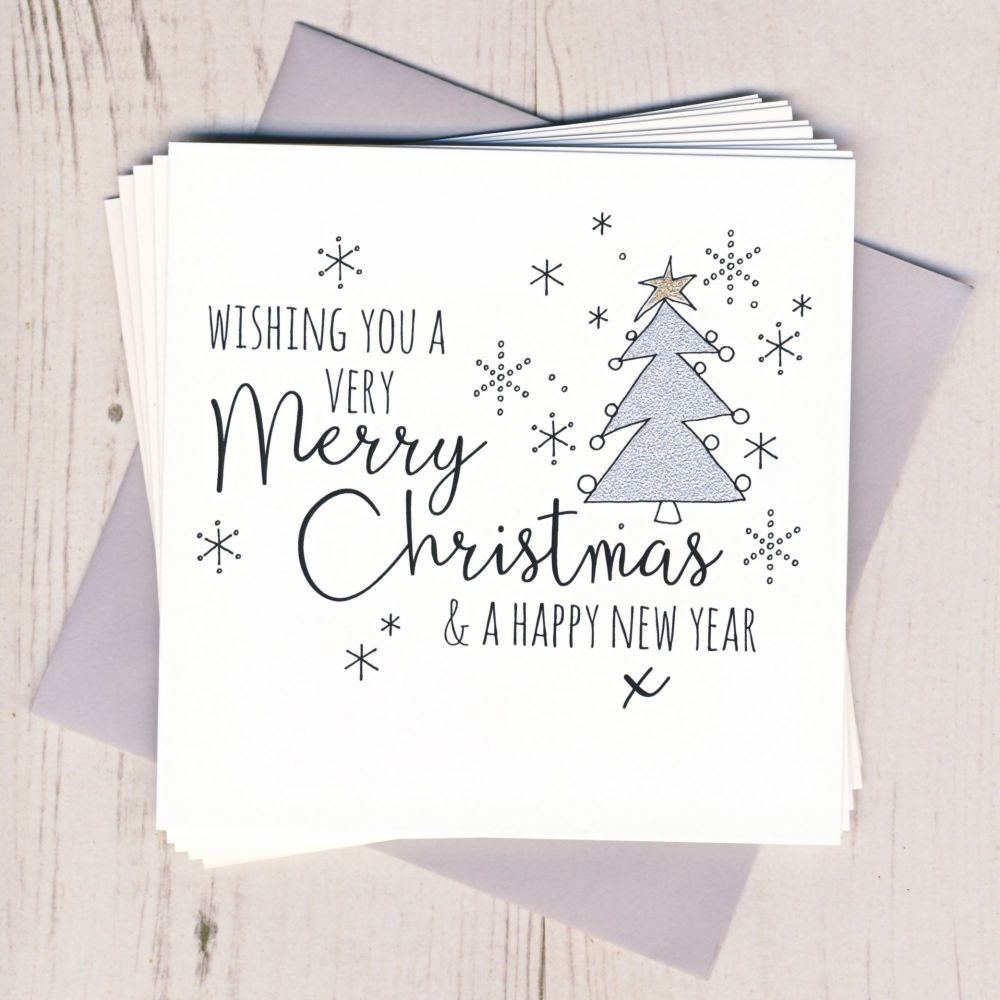 Pack of Five Glittery Christmas Tree Cards