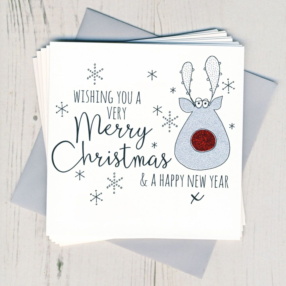 Pack of Five Glittery Rudolph Cards