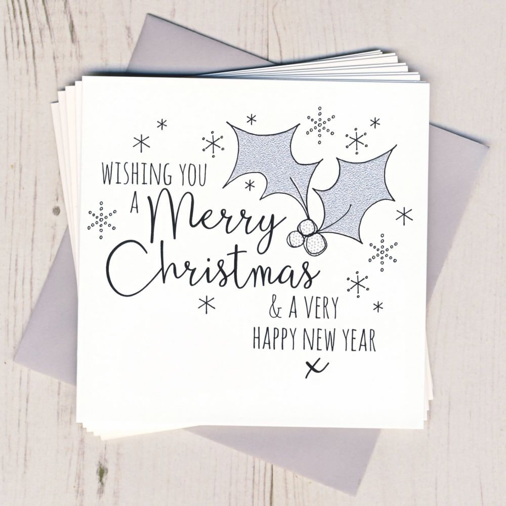 Pack of Five Glittery Holly Cards