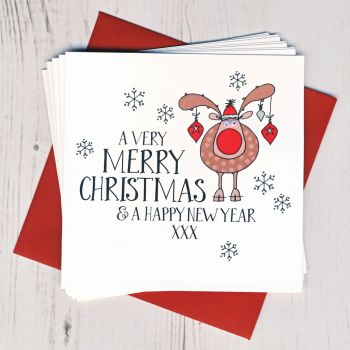 Pack of Ten Wobbly Eyes Rudolph Cards