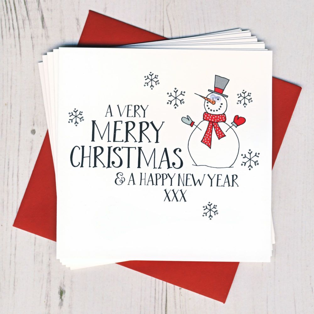 Pack of Ten Wobbly Eyes Snowman Cards