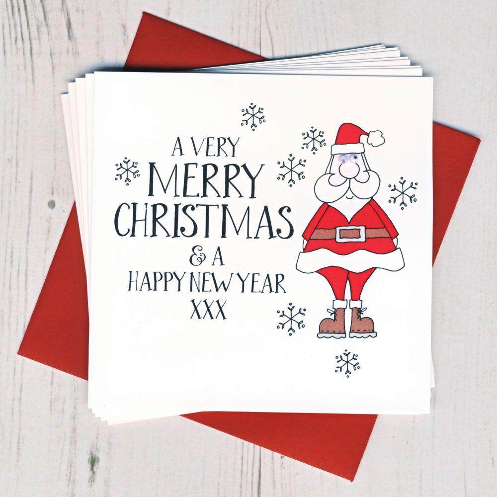 Pack of Ten Wobbly Eyes Santa Cards