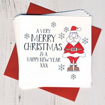 Pack of Ten Wobbly Eyes Santa Cards