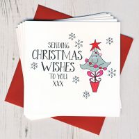 Pack of Ten Wobbly Eyes Tree Christmas Cards