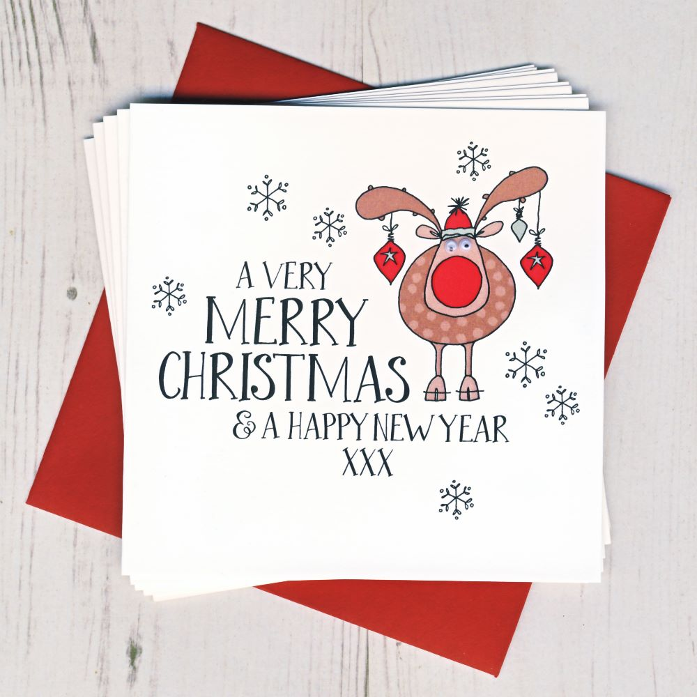<!-- 005 -->Pack of 10 Wobbly Eyes Christmas Cards