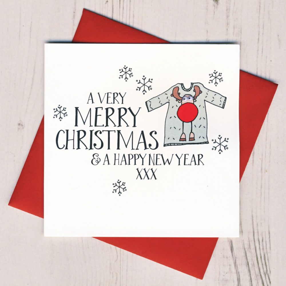 Wobbly Eyes Christmas Jumper Card
