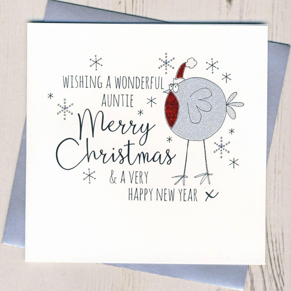 Glittery Auntie Christmas Card