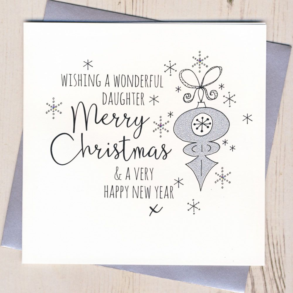 Glittery Daughter Christmas Card
