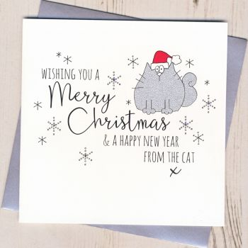 Glittery Christmas Card From The Cat