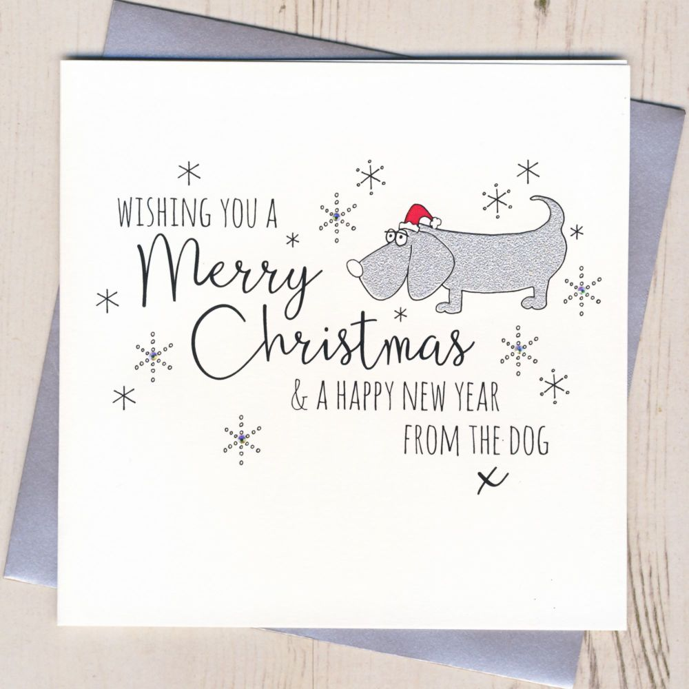 Glittery Christmas Card From The Dog