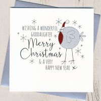 Glittery Goddaughter Christmas Card