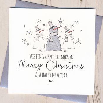 Glittery Godson Christmas Card