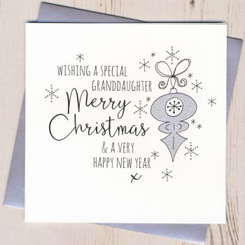 Glittery Granddaughter Christmas Card
