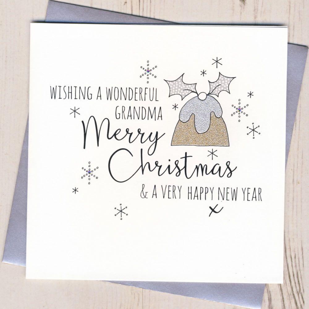 Glittery Grandma Christmas Card