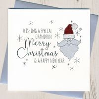 <!-- 002-->Glittery Grandson Christmas Card