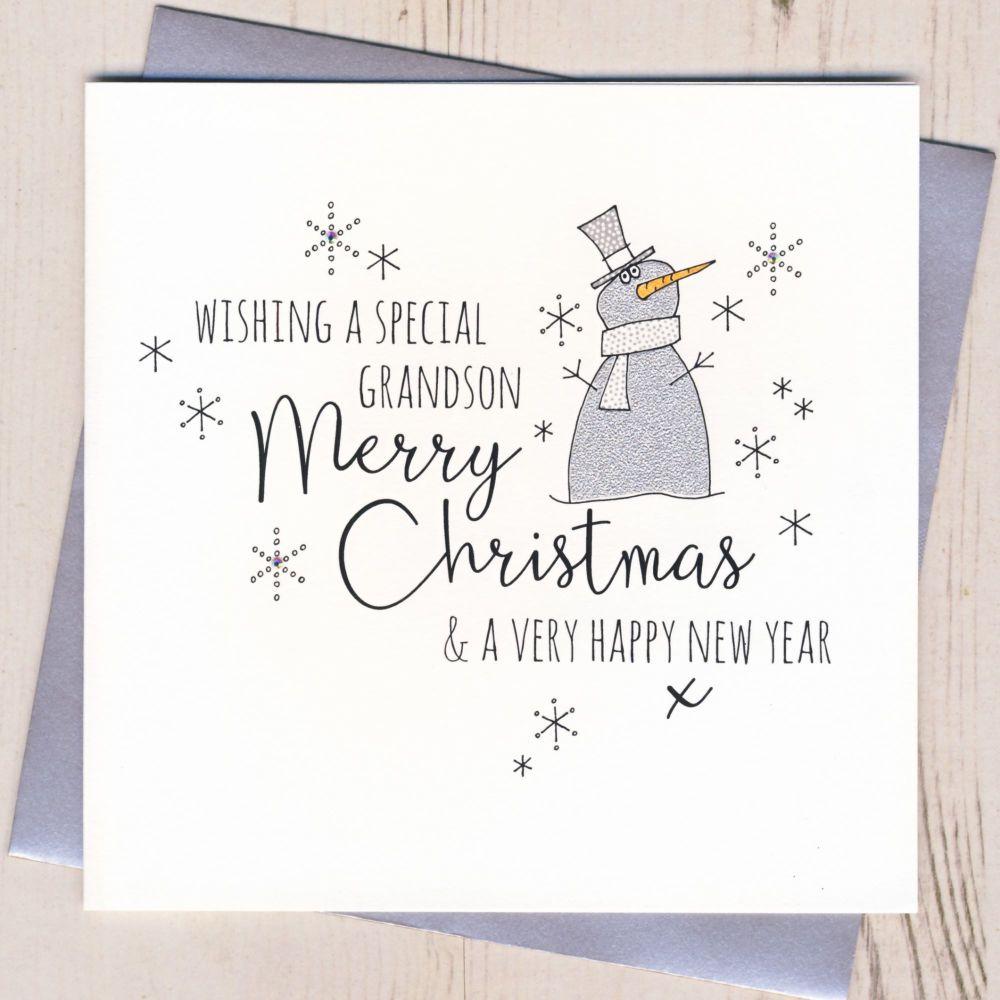 Glittery Grandson Christmas Card