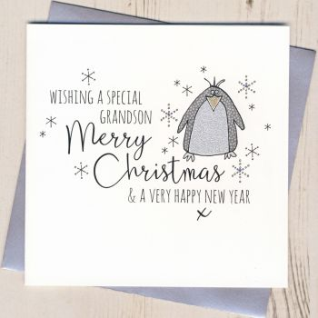 Glittery Grandson Christmas Card