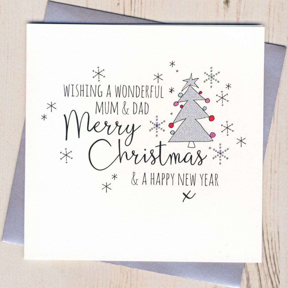 Glittery Mum & Dad Christmas Card