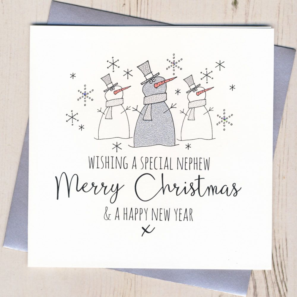 Glittery Nephew Christmas Card