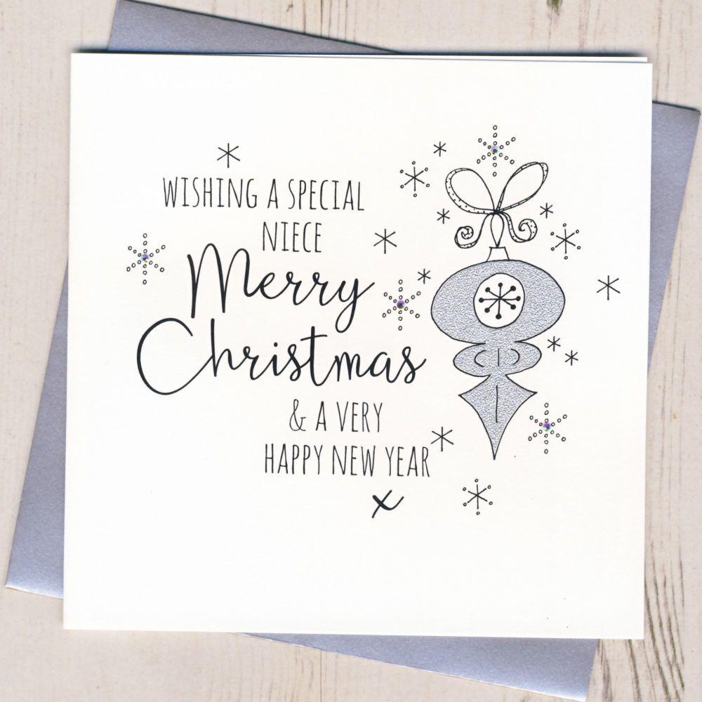 Glittery Niece Christmas Card