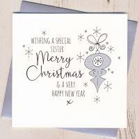 <!-- 002 -->Glittery Sister Christmas Card