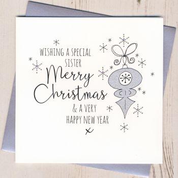 Glittery Sister Christmas Card