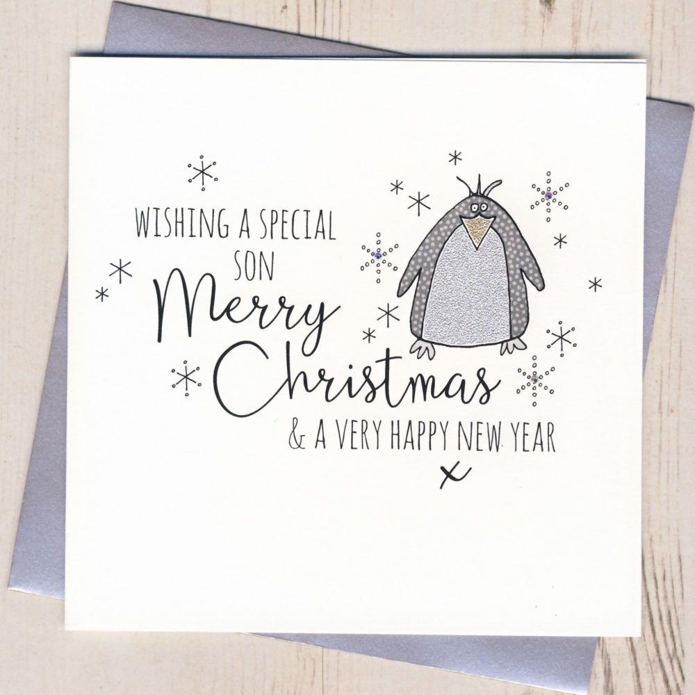 Glittery Son Christmas Card