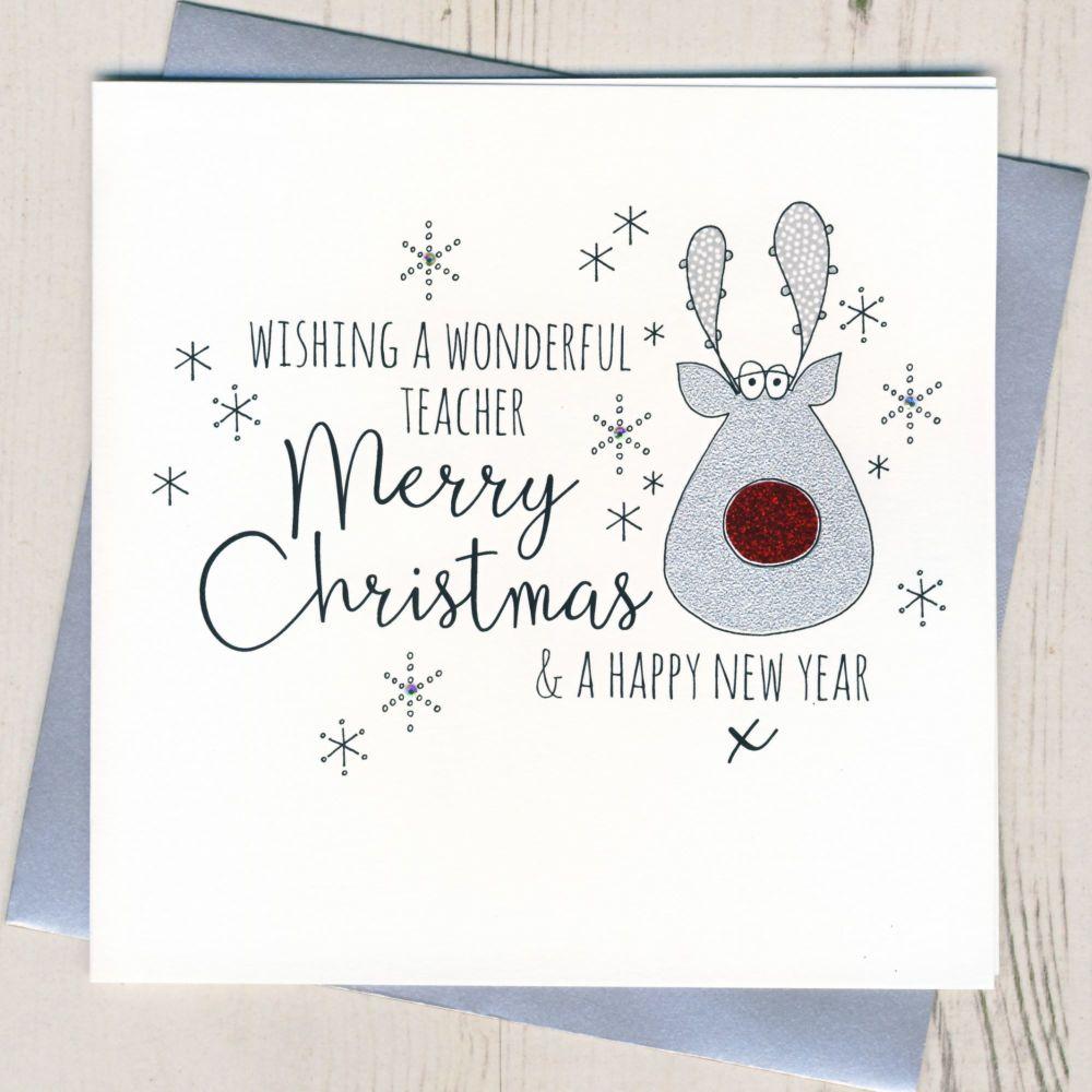 Glittery Teacher Christmas Card