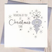 Glittery Thinking of You at Christmas Card