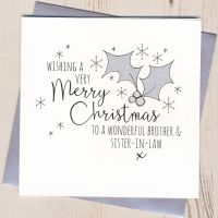 Glittery Brother & Sister-in-Law or Partner Christmas Card