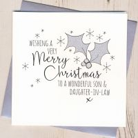 Glittery Daughter & Son-in-Law or Partner Christmas Card
