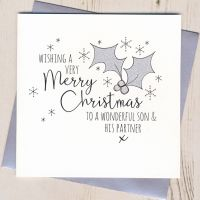 Glittery Son & Daughter-in-Law or Partner Christmas Card