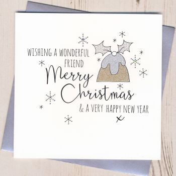 Glittery Friend Christmas Card