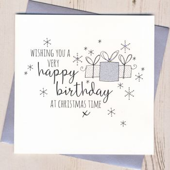 Glittery Christmas Birthday Card