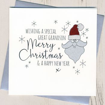 Glittery Great-Grandson Christmas Card