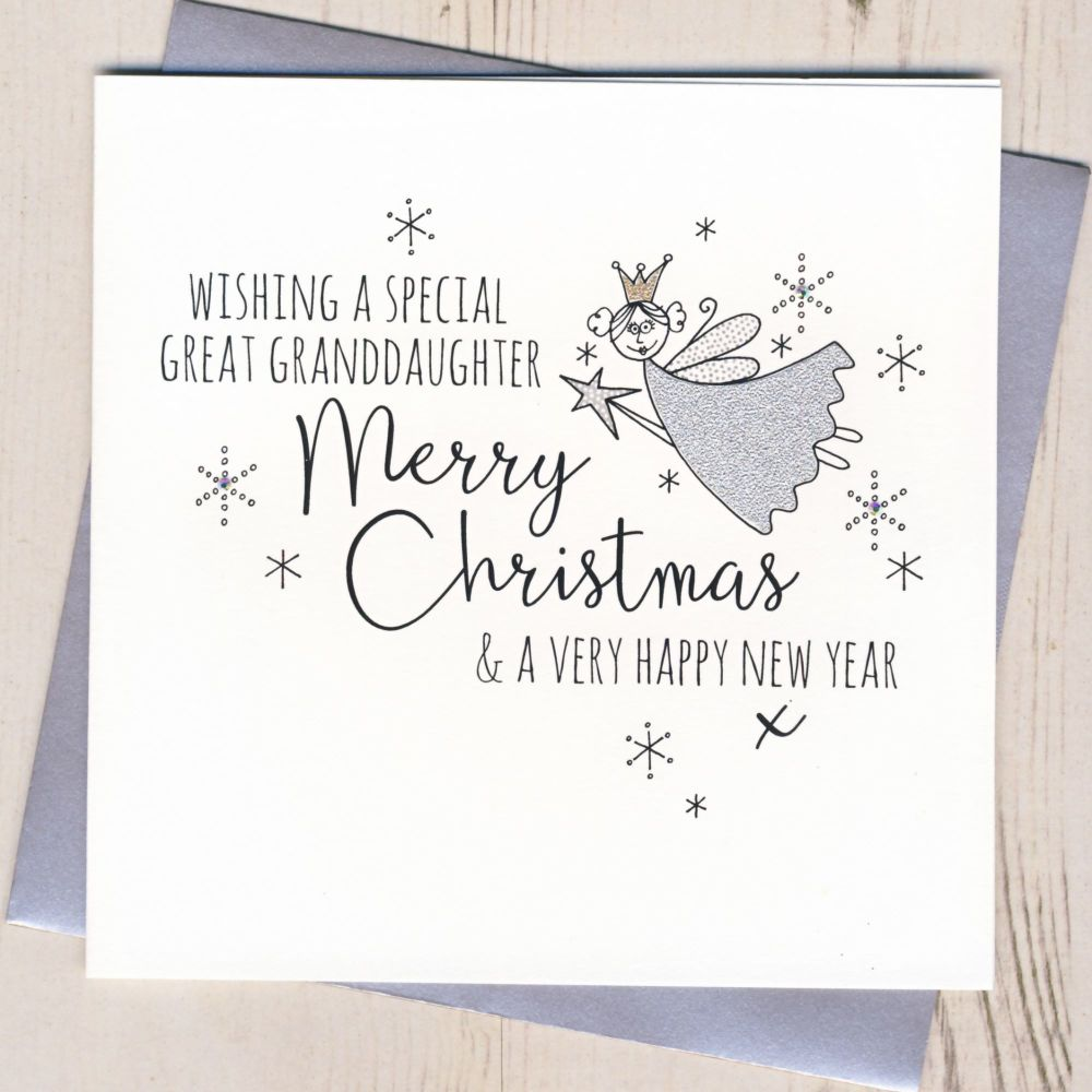 Glittery Great-Granddaughter Christmas Card