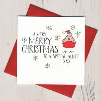 <!-- 002-->Wobbly Eyes Aunt Card Christmas Card