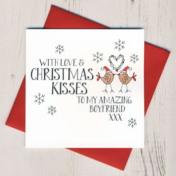 Wobbly Eyes Boyfriend Christmas Card