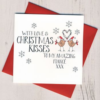 Wobbly Eyes Fiance Christmas Card
